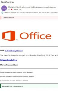 another office 365 phishing messge