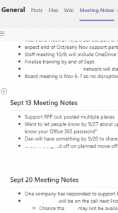get started with teams sample meeting notes