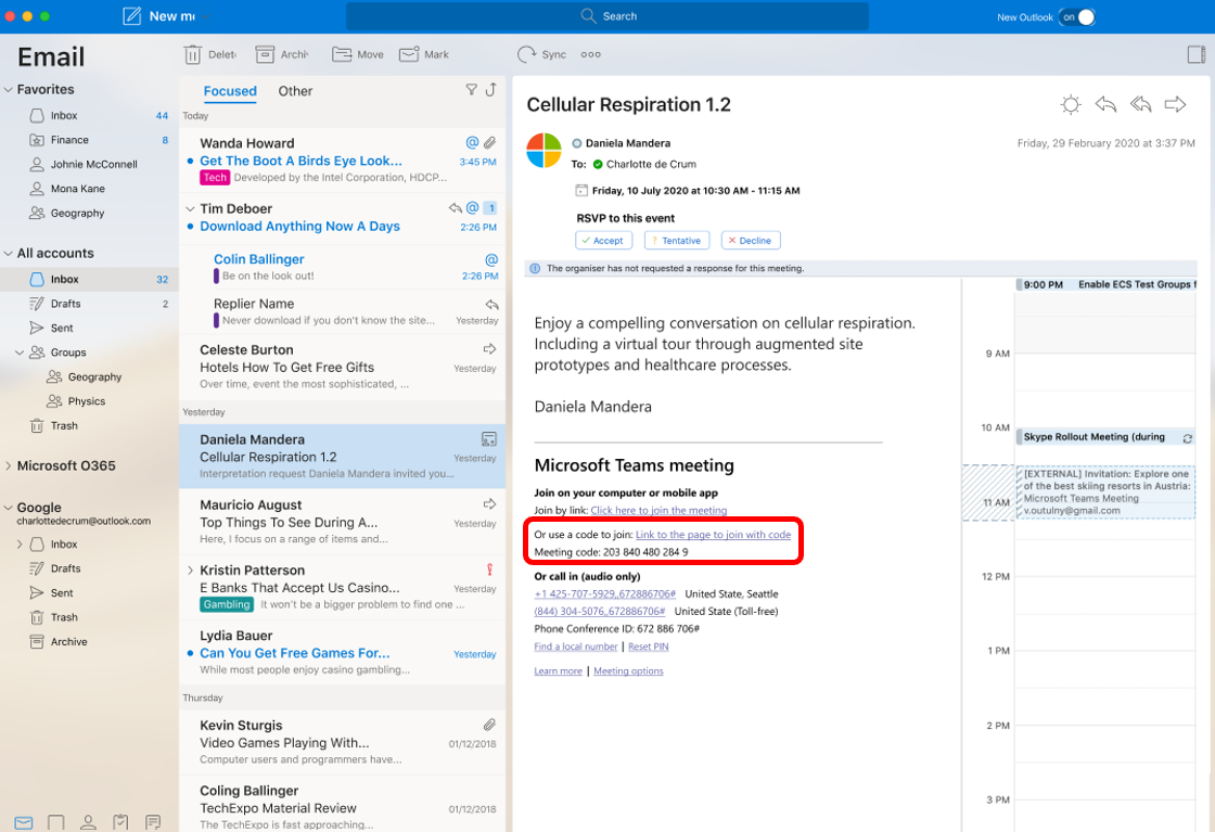 New Teams Meeting feature: join outlook meeting