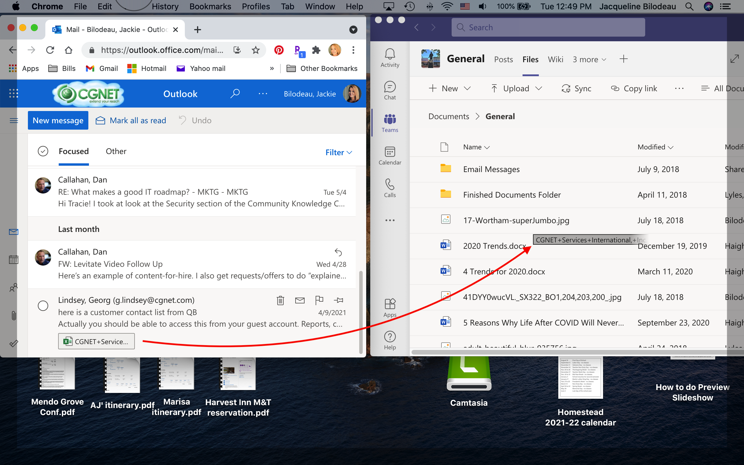 Drag and drop files from Outlook to Teams and drop files from Outlook to Teams