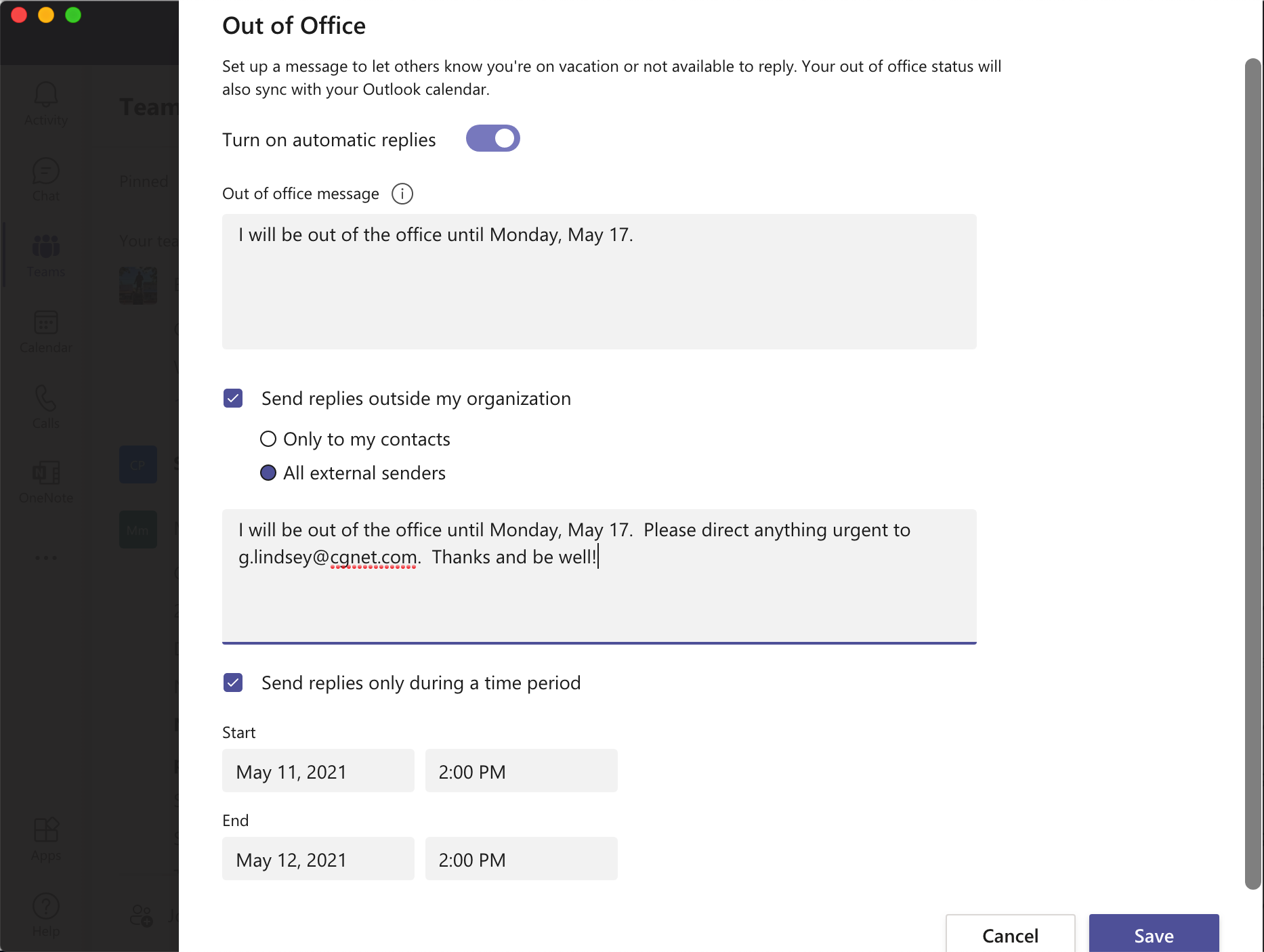 Out of office message in Teams