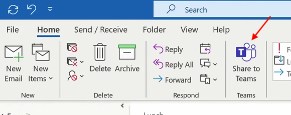Sharing from Outlook to Teams