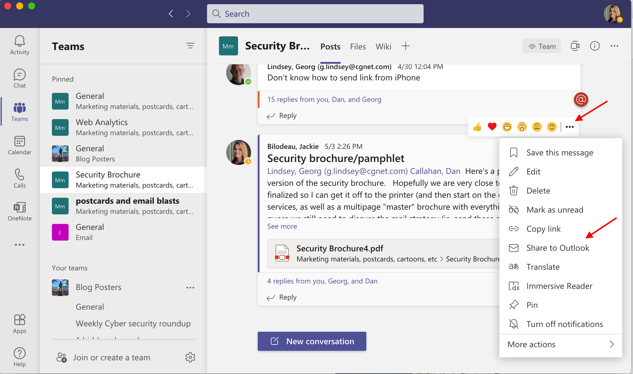 Share from Teams to Outlook