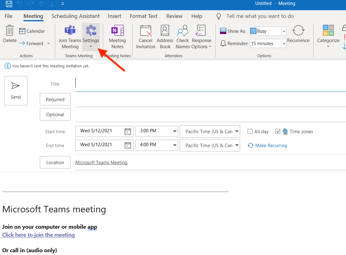 Teams Meeting options from Outlook