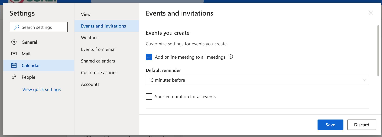 OWA Teams Meetings default